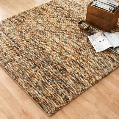 Clyde Hand-Woven Gold/Brown Area Rug Rug Size: 36 x 56