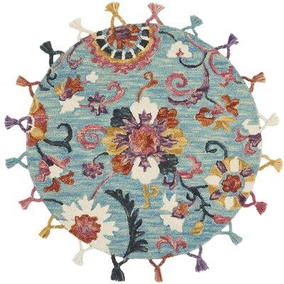 Rashida Hand-Hooked Wool Sky/Berry Area Rug