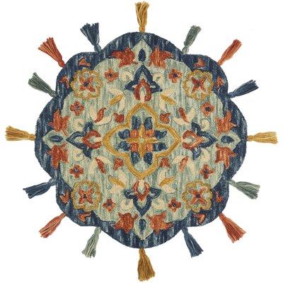 Rashida Hand-Hooked Wool Turquoise/Spice Area Rug