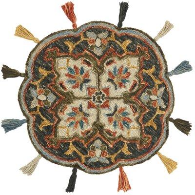 Rashida Hand-Hooked Wool Charcoal/Rust Area Rug