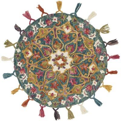 Rashida Hand-Hooked Wool Peacock/Gold Area Rug