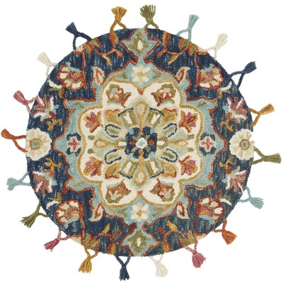Rashida Hand-Hooked Wool Navy/Light Blue Area Rug