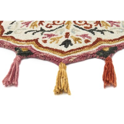 Rashida Hand-Hooked Wool Ivory/Sunset Area Rug