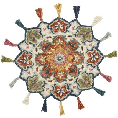 Rashida Hand-Hooked Wool Ivory/Rust Area Rug