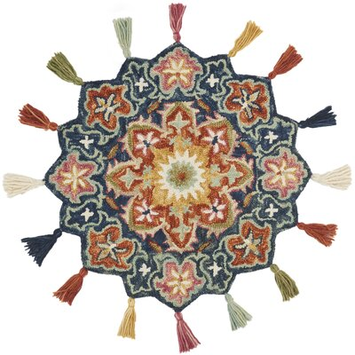 Rashida Hand-Hooked Wool Navy/Rust Area Rug