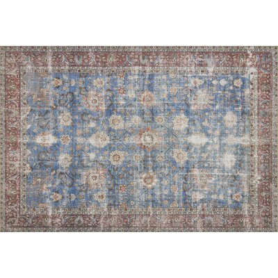 Adele Blue/Brick Area Rug� Rug Size: Rectangle 76 x 96