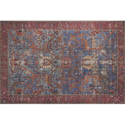 Raul Blue/Red Area Rug� Rug Size: Rectangle 23 x 39