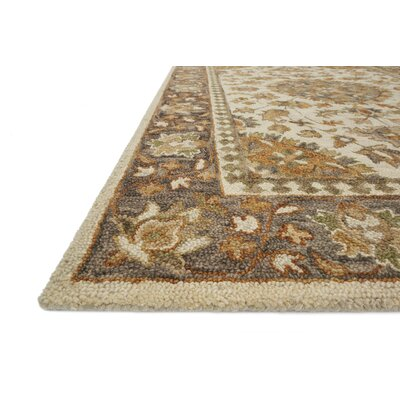 Watertown Hand-Hooked Wool Ivory/Charcoal Area Rug� Rug Size: Rectangle 5' x 7'6