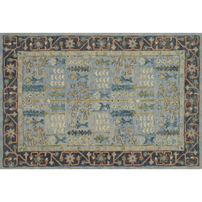 Watertown Hand-Hooked Wool Light Blue/Dark Blue Area Rug� Rug Size: 36 x 56