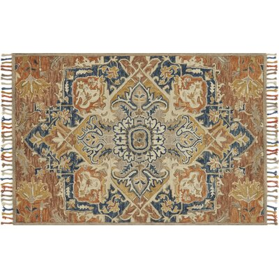 Rana Hand-Hooked Wool Rust/Blue Area Rug� Rug Size: Rectangle 5 x 76