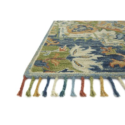 Rana Hand-Hooked Wool Blue Area Rug� Rug Size: Rectangle 5 x 76
