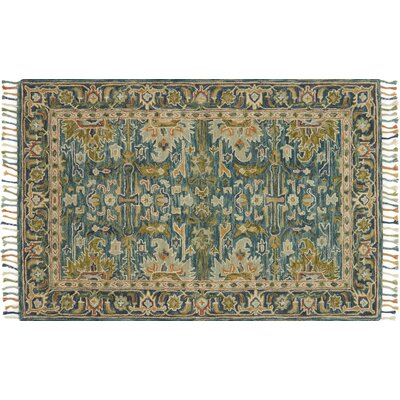 Rana Hand-Hooked Wool Blue/Navy Area Rug� Rug Size: Rectangle 36 x 56