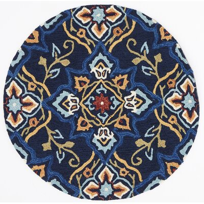 Francesca Blue/Beige Area Rug Rug Size: Round 3