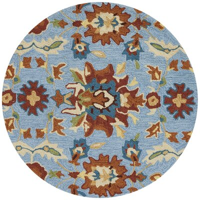 Kips Bay Hand-Hooked Blue/Red Area Rug Rug Size: Round 3