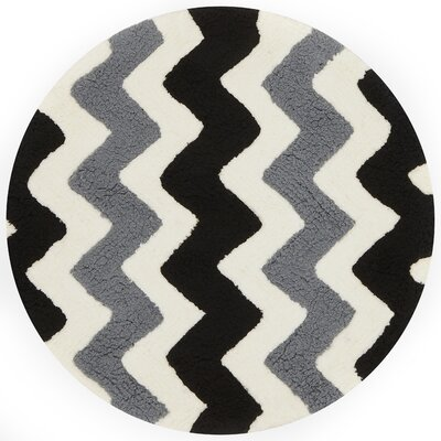 Broder Handmade Black/Charcoal Area Rug Rug Size: Round 3