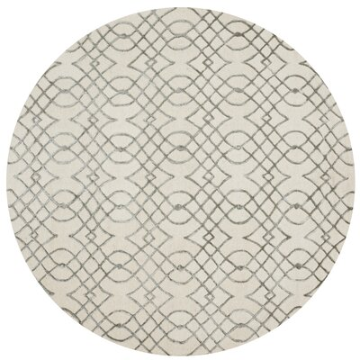 Kirkbride Ivory/Gray Area Rug Rug Size: Round 7'6
