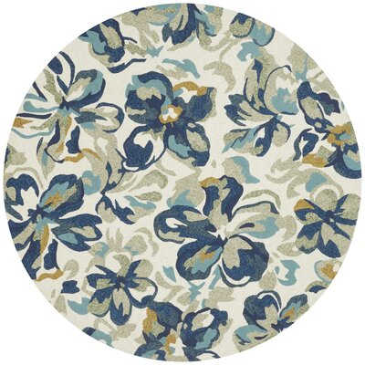 Tropez Hand-Hooked Beige/Blue Indoor/Outdoor Area Rug Rug Size: 36 x 56