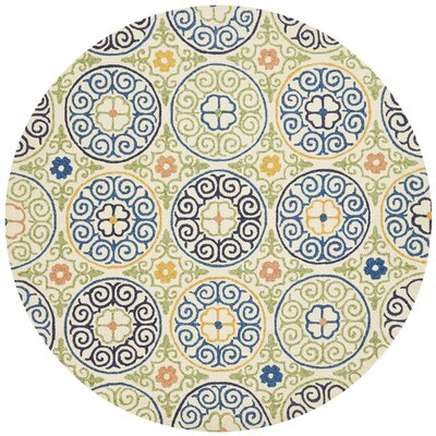 Kirshe Hand-Hooked Ivory/Blue Indoor/Outdoor Area Rug Rug Size: Round 710