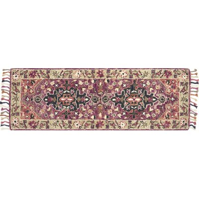 Rana Hand-Hooked Pink Area Rug Rug Size: Runner 26 x 76