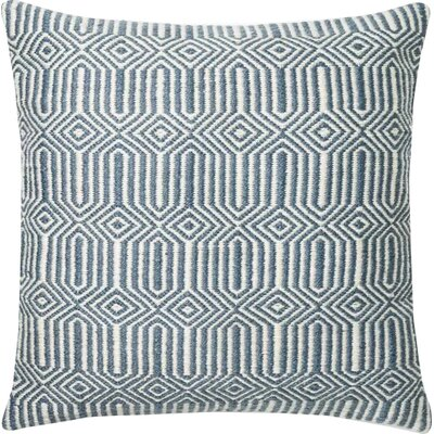 Cusson Outdoor Throw Pillow Color: Blue/Ivory