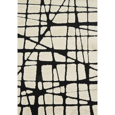 Bigham Cream/Black Area Rug Rug Size: Rectangle 23 x 39
