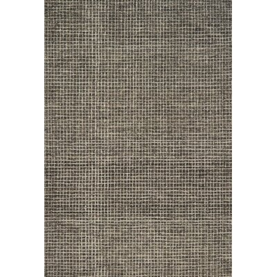 Bourque Hand-Hooked Wool Charcoal Area Rug Rug Size: Rectangle 36 x 56