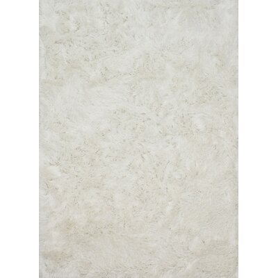 Elliana Shag Hand-Tufted White Area Rug Rug Size: Rectangle 36 x 56