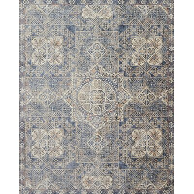 Dietrick Hand-Hooked Blue Area Rug Rug Size: Rectangle 3'7