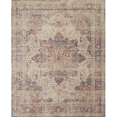 Dietrick Hand-Hooked Ivory/Red Area Rug Rug Size: Rectangle 37 x 52