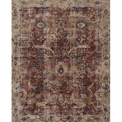 Dietrick Red/Beige Area Rug Rug Size: Rectangle 2 x 34