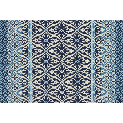 Duvig Hand-Hooked Blue/Ivory Area Rug Rug Size: Rectangle 36 x 56