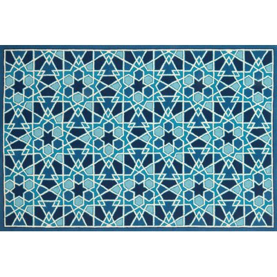 Rankin Hand-Hooked Light Blue/Navy Area Rug Rug Size: Round 710