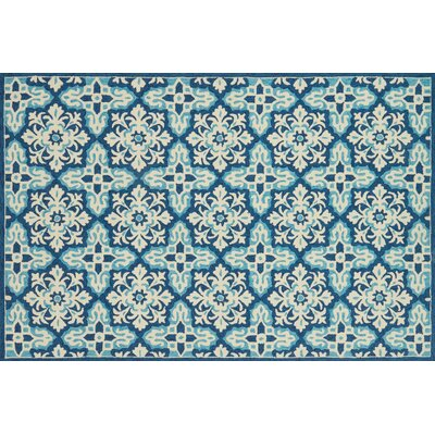 Duvig Hand-Hooked Ivory/Blue Area Rug Rug Size: Rectangle 23 x 39