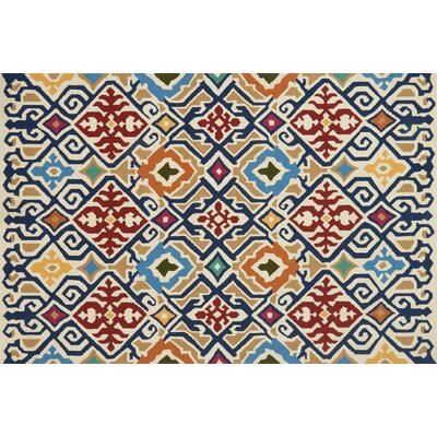 Duvig Hand-Hooked Ivory/Red Area Rug Rug Size: Rectangle 5 x 76