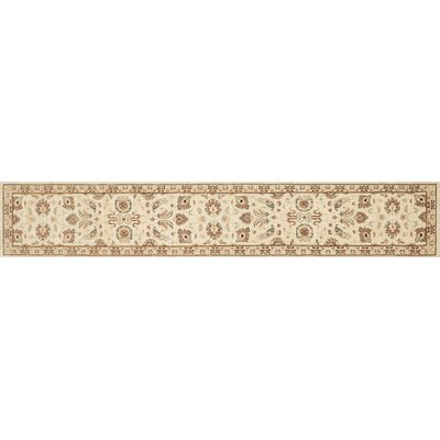 Durden Hand-Knotted Ivory/Gold Area Rug Rug Size: Runner 26 x 10