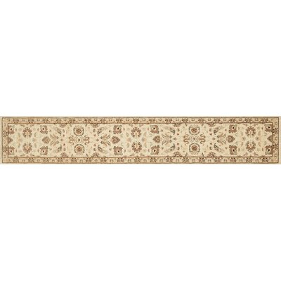 Durden Hand-Knotted Ivory/Gold Area Rug Rug Size: Runner 26 x 24
