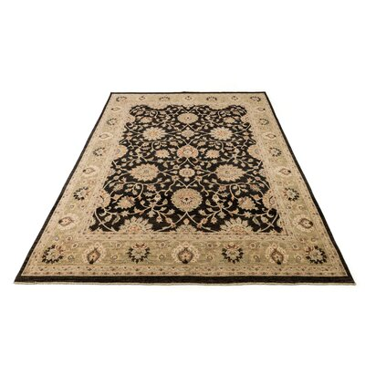 Majestic Hand-Knotted Black/Ivory Area Rug Rug Size: Rectangle 79 x 99