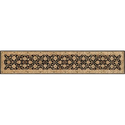 Durden Hand-Knotted Black/Ivory Area Rug Rug Size: Runner 26 x 18