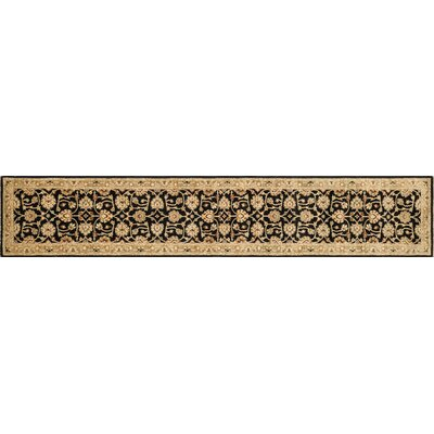 Majestic Hand-Knotted Black/Ivory Area Rug Rug Size: Runner 26 x 24