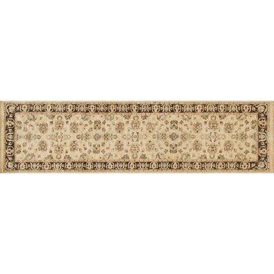 Durden Hand-Knotted Ivory/Mocha Area Rug Rug Size: Runner 26 x 14