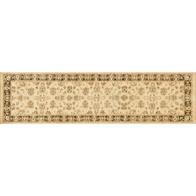 Durden Hand-Knotted Ivory/Mocha Area Rug Rug Size: Runner 26 x 24
