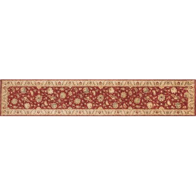 Majestic Hand-Knotted Red/Ivory Area Rug Rug Size: Runner 26 x 14