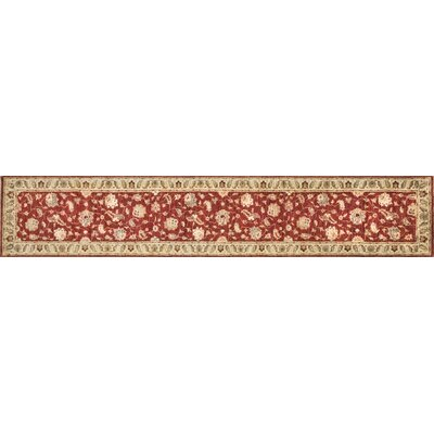 Majestic Hand-Knotted Red/Ivory Area Rug Rug Size: Runner 26 x 24