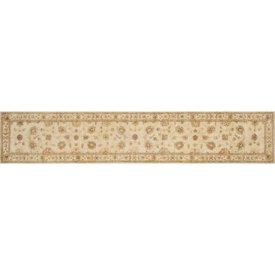 Majestic Hand-Knotted Ivory Area Rug Rug Size: Runner 26 x 14