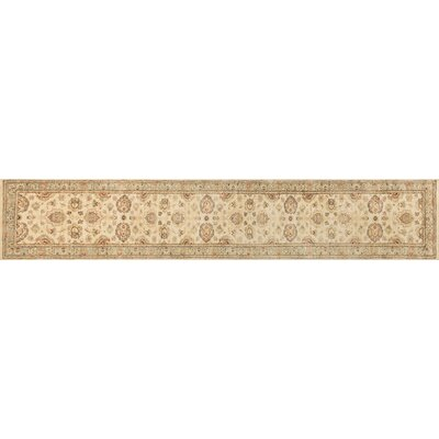 Majestic Hand-Knotted Ivory/Blue Area Rug Rug Size: Runner 26 x 14