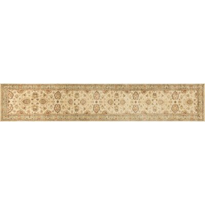 Durden Hand-Knotted Ivory/Blue Area Rug Rug Size: Runner 26 x 24