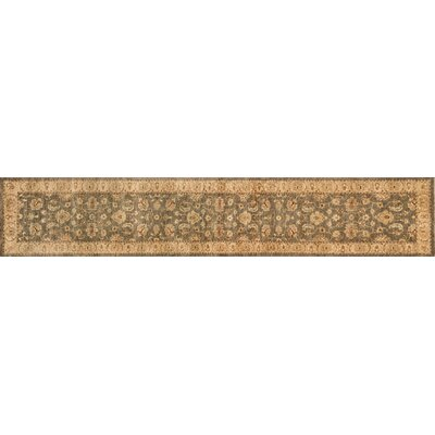 Majestic Hand-Knotted Smoke/Beige Area Rug Rug Size: Runner 26 x 14
