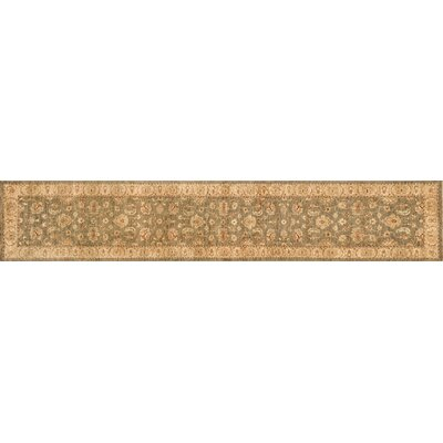 Majestic Hand-Knotted Smoke/Beige Area Rug Rug Size: Runner 26 x 24