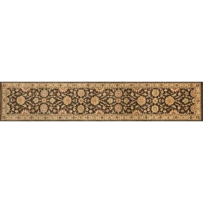 Durden Hand-Knotted Chocolate/Gold Area Rug Rug Size: Runner 26 x 14