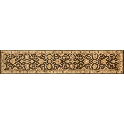 Durden Hand-Knotted Chocolate/Gold Area Rug Rug Size: Runner 26 x 18